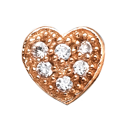 Rose Heart - Gold & CZ Charm